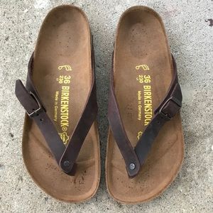 NEW Birkenstock Thong Leather Sandals Brown